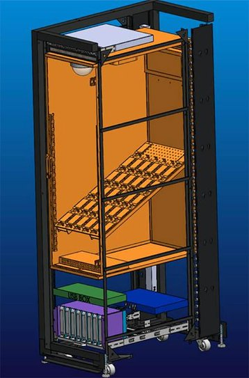 The interior layout of the mobile rack