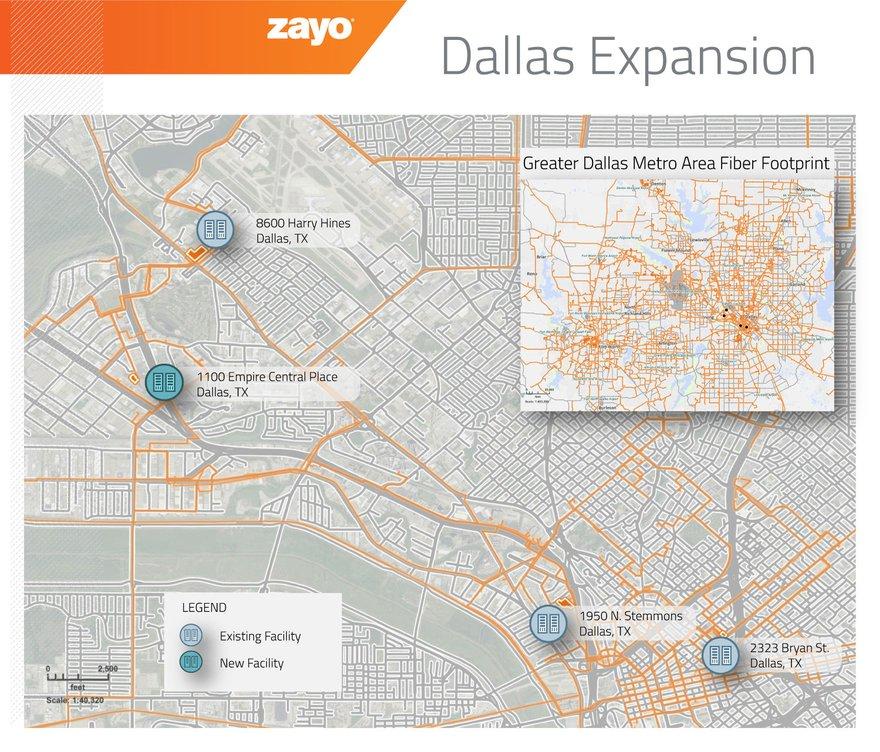 Zayo presence in Dallas following the acquisition