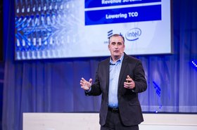 Intel CEO Brian Krzanich speaking at the Ericsson press conference