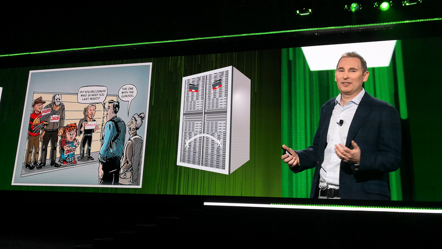 No love lost: Andy Jassy makes fun of Oracle's Larry Ellison on stage