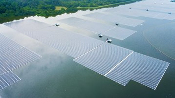 Aerial view of the Sembcorp Tengeh Floating Solar Farm