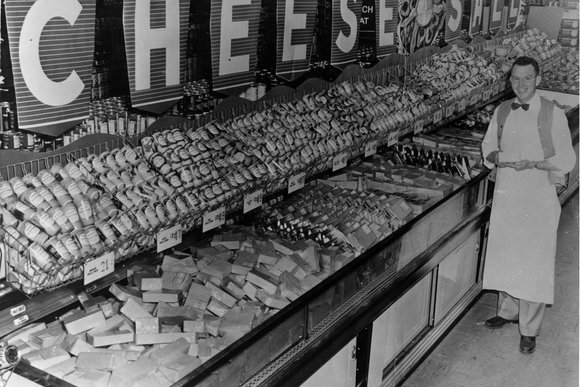 Albertsons cheese department in 1955