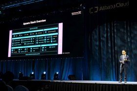 Dr. Derek Wang outlining the capabilities of Apsara Stack at the Alibaba Cloud Summit conference held at Resort World Convention Centre in Singapore