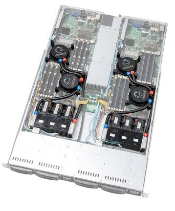 A liquid cooled server