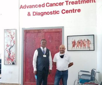 Hamptons Hospital CEO Hon. Dr. Maurice Siminyu (left) and Atos Senior project manager for SADC region Virgil Shetty at Hamptons Hospital in Mwale Medical and Technology City on June 8, 2021