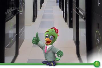 Bezeq International's mascot and data center