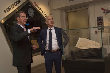 Then-Secretary of Defense Ash Carter gives Jeff Bezos a tour of the Pentagon