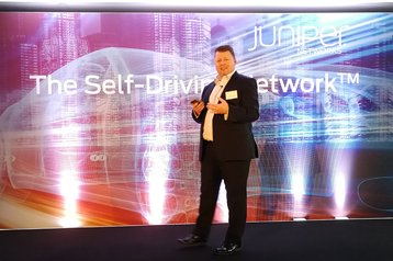Juniper's Brett Ley introducing Juniper Bots in London