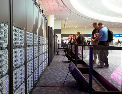 Cisco Unified Computing System racks on display at a conference in San Francisco