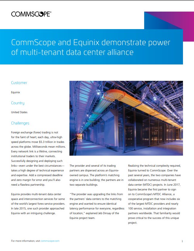 CommScope and Equinix demonstrate power of multi-tenant data