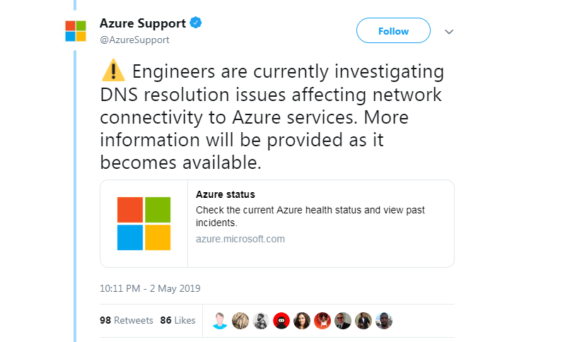Microsoft suffers intermittent Azure outage over DNS