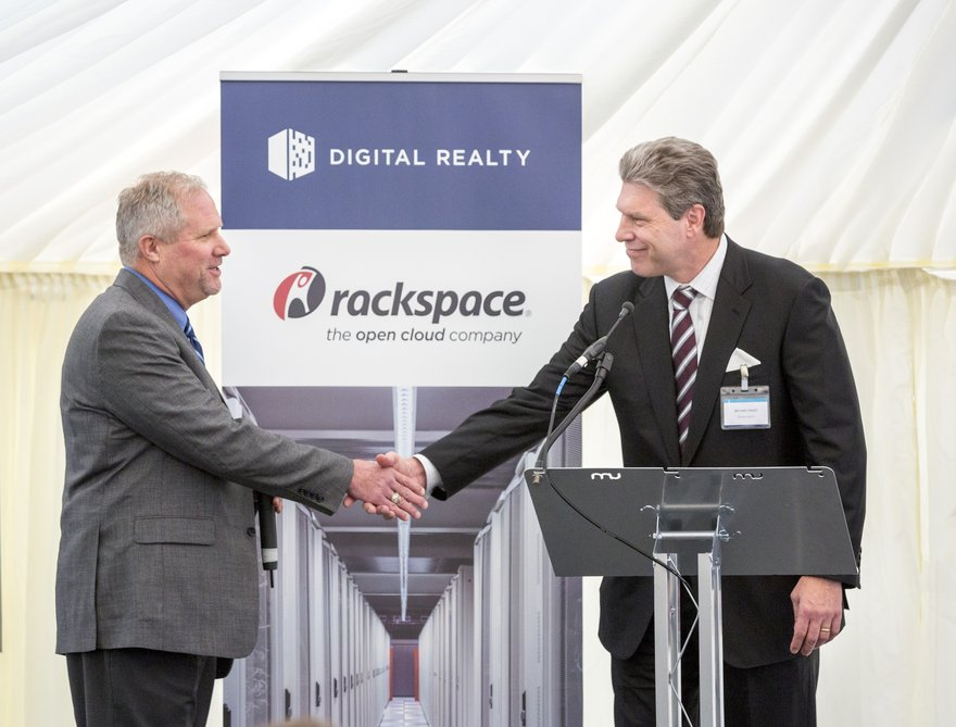 Mike Foust, CEO of Digital Realty (right) and Mark Roenigk COO of Rackspace at the ground breaking for a new giant data center