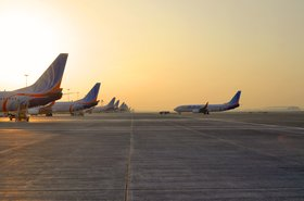 FlyDubai aircraft parked at Terminal 2, DBX