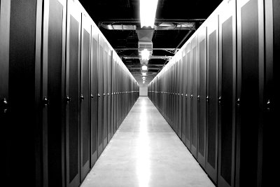 A data center aisle (not an Interxion data center).