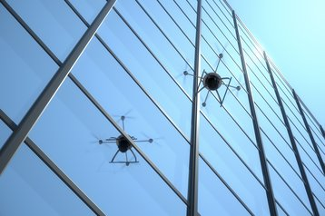 drone by side of building