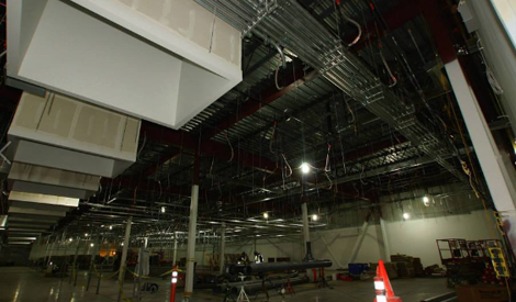 The data hall under construction at Facebook Altoona