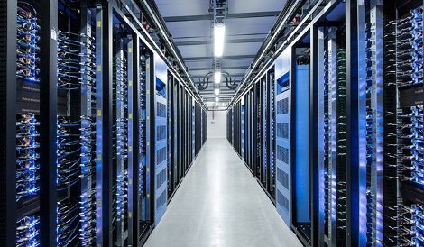 An aisle at Facebook's data center in Luleå, Sweden