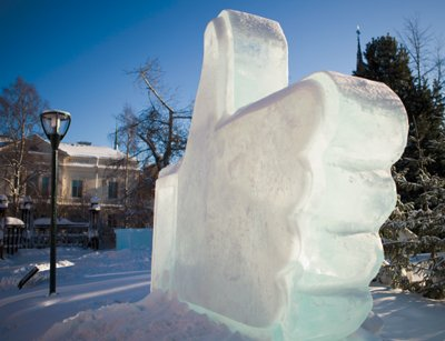 Facebook's ice sculputre in Lulea - a town that is benefiting from its data center investment