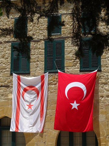Flags of Turkey and Northern Cyprus in Northern Nicosia