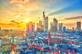 Frankfurt, Germany at sunset