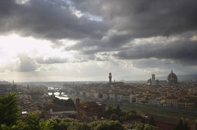 Storm clouds over Florence and Arno River