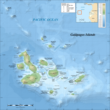 Galapagos Islands topographic map from Wikipedia