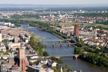 Aerial view of the river Main, Germany