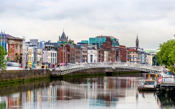 View of Dublin with the Ha'penny Bridge, Ireland