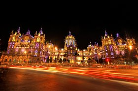 Chatrapati Shivaji Terminus, Mumbai illuminated at night