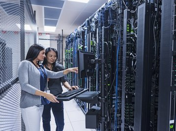 People in a data center
