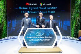 Microsoft's Vijay Tewari (center) with Huawei executives