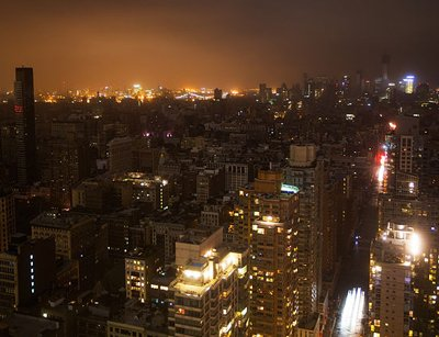 Large chunks of Manhattan were in darkness thanks to Hurricane Sandy