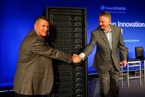 Tom Rosamilia, senior VP of IBM's Systems and Technology Group (left) and Doug Balog, IBM General Manager of Power Systems (right) in front of a rack filled with the new Power8 servers