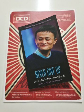 A book on Jack Ma, founder and CEO of Alibaba, at DCD offices in London