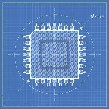 CPU chip blueprint