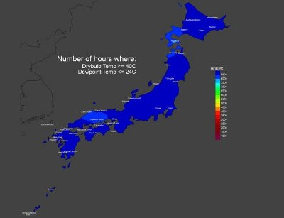 The free-cooling map of Japan. Image courtesy of The Green Grid.
