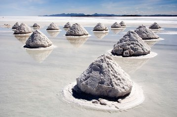 Lithium rich piles of salt at Salar de Uyuni, Bolivia