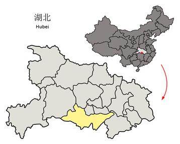 location of jingzhou in hubei province