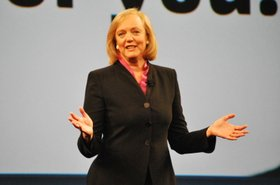 HP president and CEO Meg Whitman speaking at the HP Discover 2012 conference in Las Vegas.