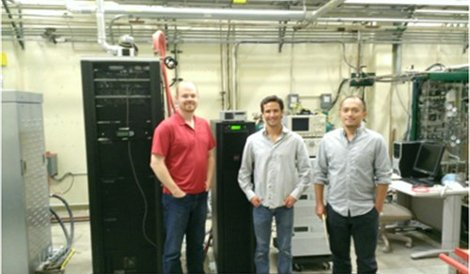 Left to right: Sean James, senior research program manager, Microsoft, Brendan Shaffer, research engineer, UC Irvine's National Fuel Cell Research Center, Li Zhao, research specialist, NFCRC
