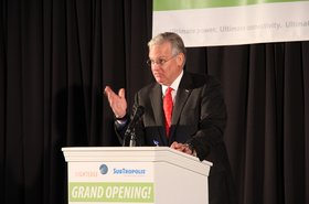 Gov. Nixon speaking last year at the grand opening of a new data center campus in SubTropolis, an underground business complex in northeast Kansas City