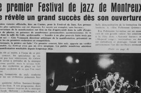 Newspaper cut out announcing the first Montreux Jazz Festival, 1967