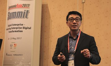 Mr Wong Wai Meng, CEO of Keppel Data Centres, addressing a plenary session at the CommunicAsia Conference on 25 May 2017