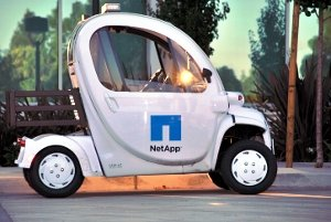 Cart outside NetApp's headquarters building in Sunnyvale, California