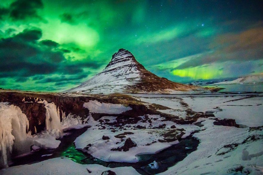 Aurora Borealis above Kirkjuffell in Iceland