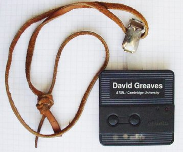 Olivetti-research-active-badge-wearable-computing david Greaves Cyborg anthropology wiki.jpg