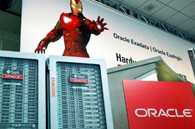 Iron Man and Oracle's Exalogic machine at a past OpenWorld
