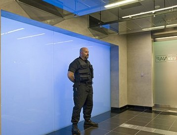 A guard outside Phoenix NAP's data center in Arizona