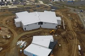Outside structures near completion, Pulse data center, November 2017