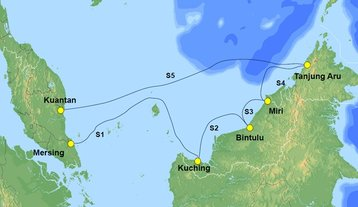 Route map for the SKR1M submarine cable system